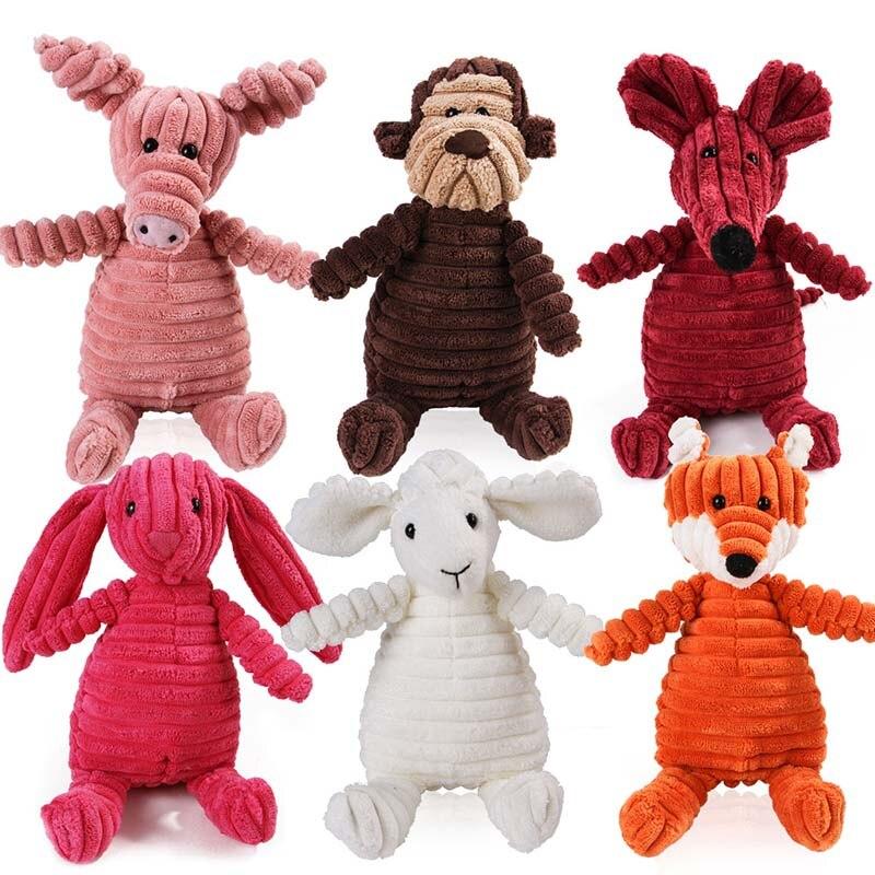 Вельветовая игрушка для домашних животных, плюшевая собака, пищалка, игрушка, устойчивая к укусам, большая детская игрушка, мопсы, аксессуар...