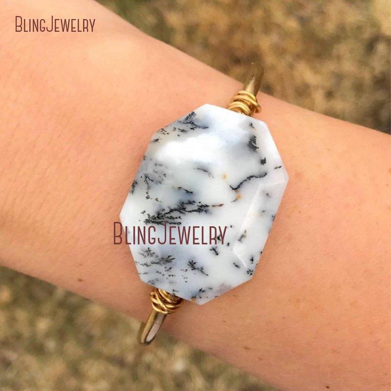 BM11254 Dendrite Opal Bracelet Cuff White Marble Stone Cuff Gemstones Bohemian Dendritic Octagon Cut Bracelet Chunky Bangle