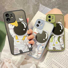 Luxury Telescope Astronaut Matte Hard Phone Case For iPhone 11 12 Pro Max Mini X Xs XR 7 8 Plus SE 2 Silicone Shockproof Cover