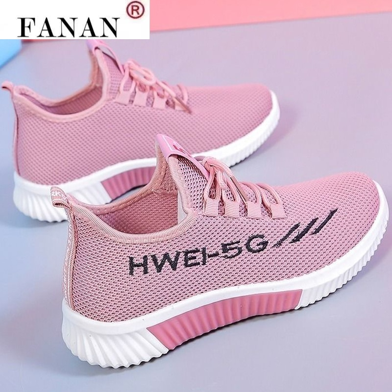 2021 Fashion Spring New Women's Lightweight Comfortable Lace-up Casual Shoes Ladies Mesh Breathable Sneakers Vulcanized Shoes