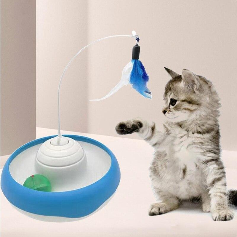 Игрушка-перо для кошек, креативная электрическая забавная обучающая игрушка-поднос для кошек, игрушка-царапина для кошек, интерактивная иг...