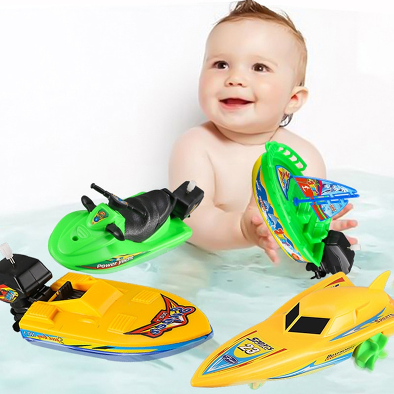 1Pc Speed Boat Ship Wind Up Toy Classic Clockwork Toys Winter Shower Bath Toys for Children Boys Float In Water Kids Toys Gifts недорого