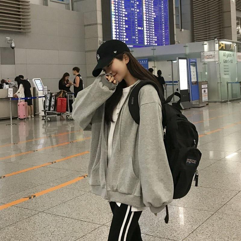 Women's Sweatshirt  Autumn Zipper Solid Loose Cardigan Hoodie 2021 Korean Style Casual Ladies Jacket