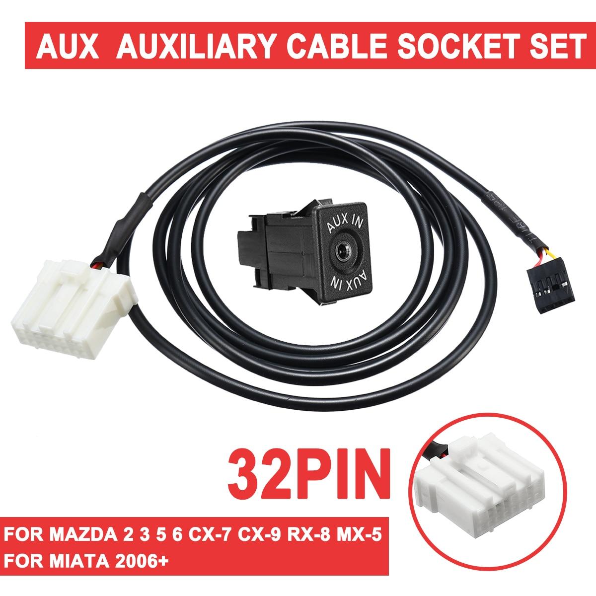 Para Mazda 2 3 5 6 CX-7 CX-9 RX-8 MX-5 para Miata 2006 + 32 Pin AUX auxiliar Cable Auto AUX Módulo adaptador de interfaz de Cable