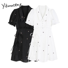 Yitimuceng Floral Dresses Women Summer Lace Up High Waist Puff Sleeve A-Line Solid White Black 2021