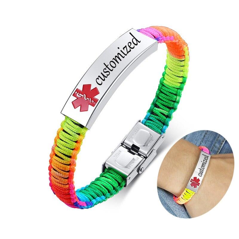 Personalizado gravura médica alerta id pulseira mulheres homens náilon artesanal trançado consciência pulseiras arco-íris preto opcional