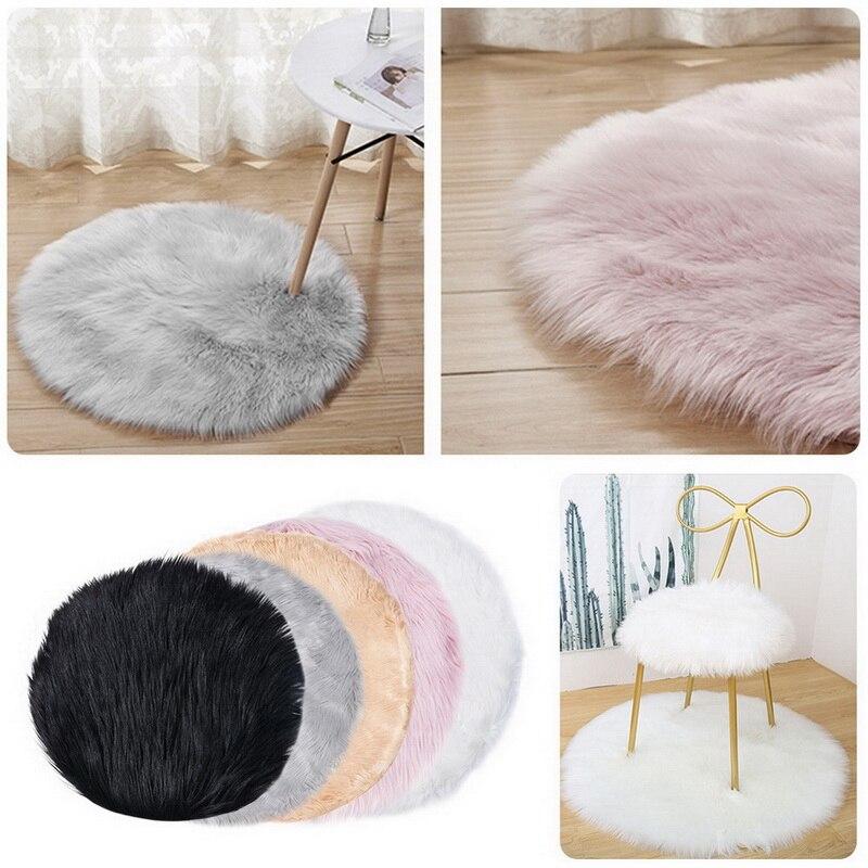 Ronda imitación suave de piel de oveja de piel alfombras de área para dormitorio Sala Shaggy sedoso alfombra de felpa blanco Imitación Piel alfombra de cabecera alfombras