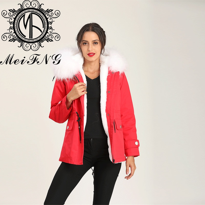Original  Brand Bright Red Short Parka Shell Women Pure White Furs Lined Warm Jacket enlarge