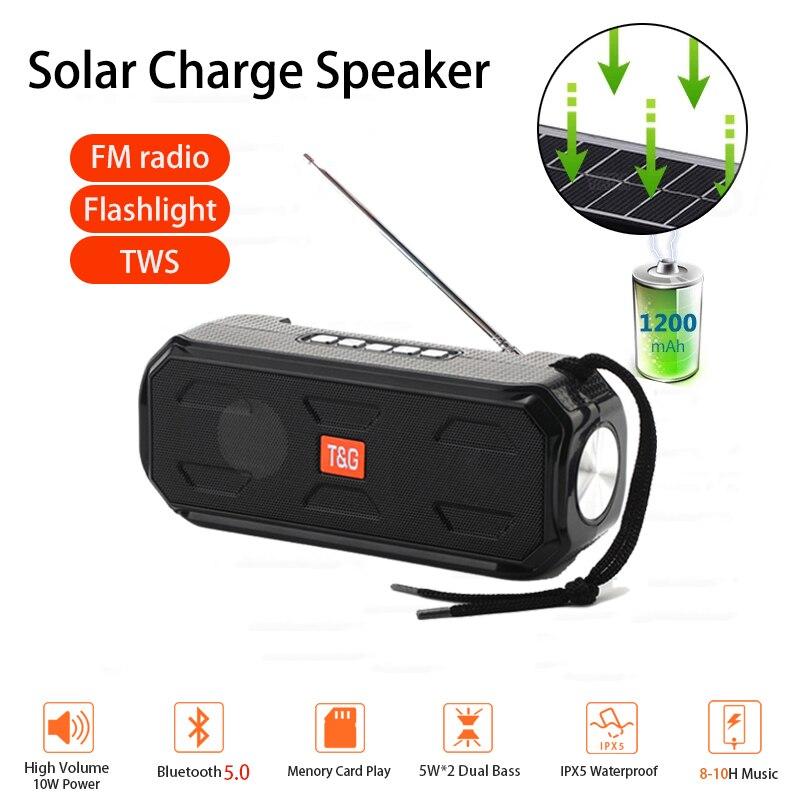 Altavoces portátiles con Bluetooth y carga Solar, Radio FM, linterna, Altavoz De...