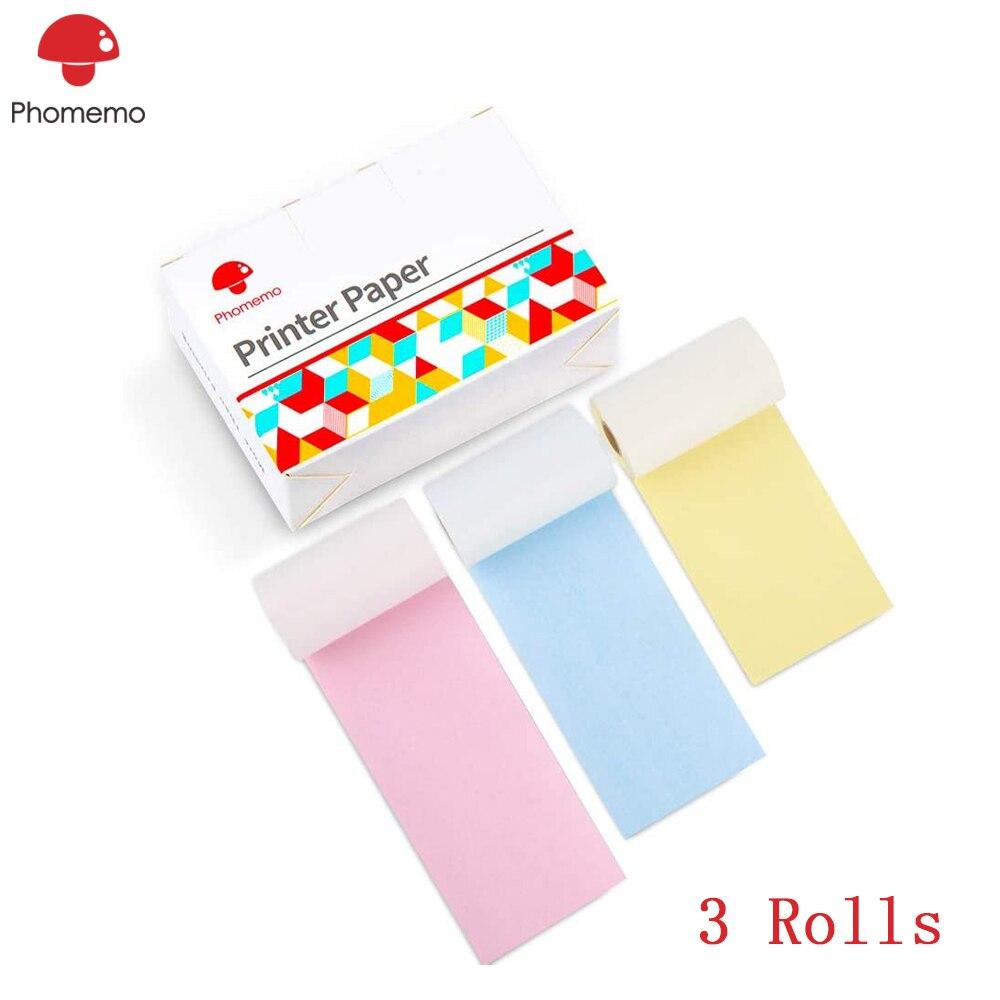 Papel térmico colorido phoemo para impressora de bolso Phomemo-M02/m02s, caráter preto em amarelo/azul/rosa, não-adesivo, 50mm x 6.5m