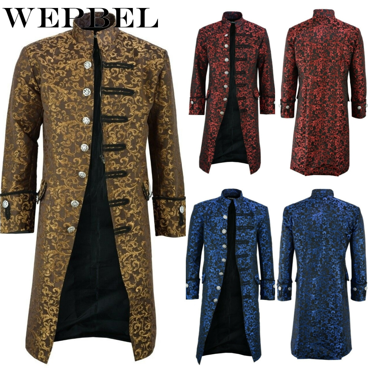 Wepbel casaco longo masculino de manga longa, floral, vintage, steam, punk, vitoriano, casacos masculinos