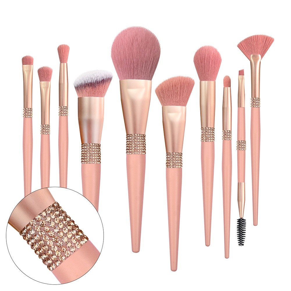 Custom Logo Luxury Bling Pink Private Label Glitter Vegan Makeup Brushes Set Holder with Cleaner Diamond Custom Logo Package Box