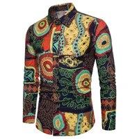 mens slim long sleeve floral shirt hawaiian style fashion new metrosexual man casual printed cardigan plus size shirts for men