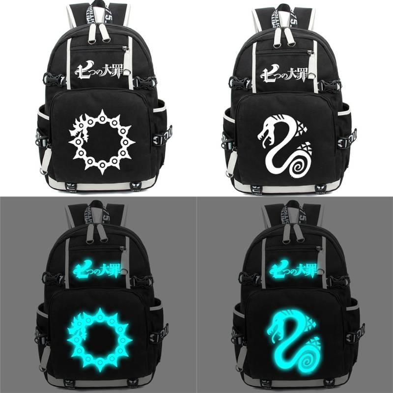 The Seven Deadly Sins-حقيبة ظهر مضيئة ، حقيبة كتف مدرسية للطلاب ، حقيبة كمبيوتر محمول للمراهقين ، حقيبة سفر ، هدية