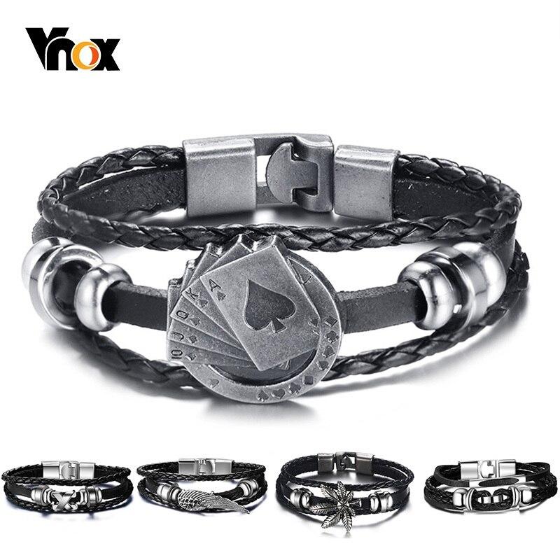 "Vnox lucky vintage pulseira de couro masculino cartões de jogo raja vegas charme multicamadas trançado feminino pulseira masculina 7.87"""