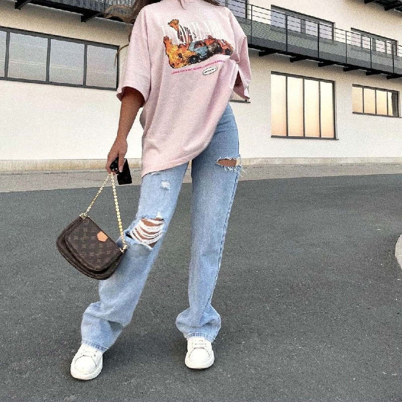 straight leg mid rise faded jeans Fashion hole washed straight-leg trousers jeans, women pants, Women pants high rise jeans, Women pants high rise