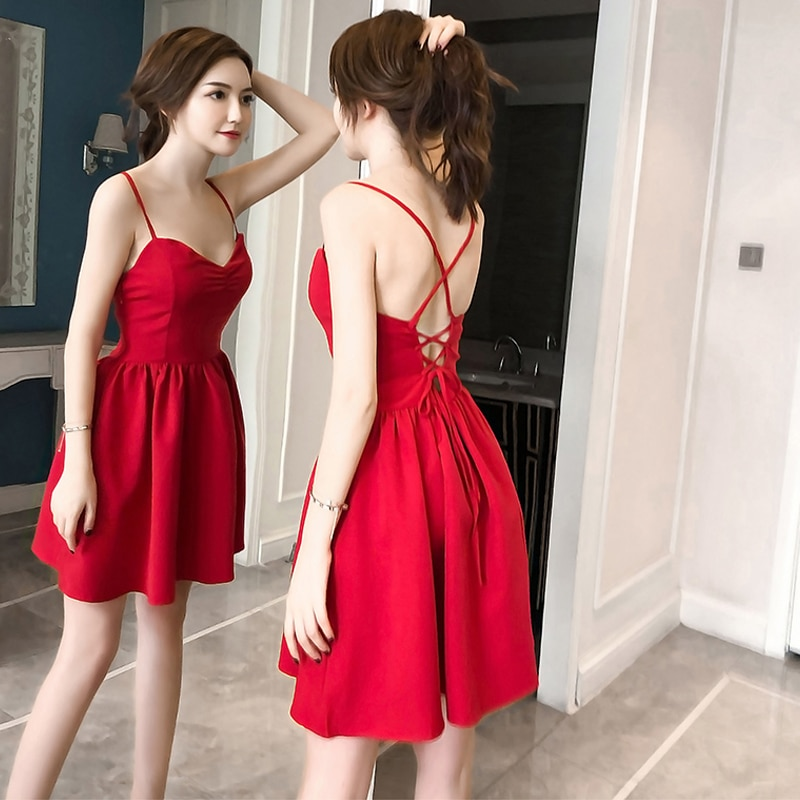 Spring and summer new style Nightclub sexy red dress Sexy open back lace New seaside vacation strap