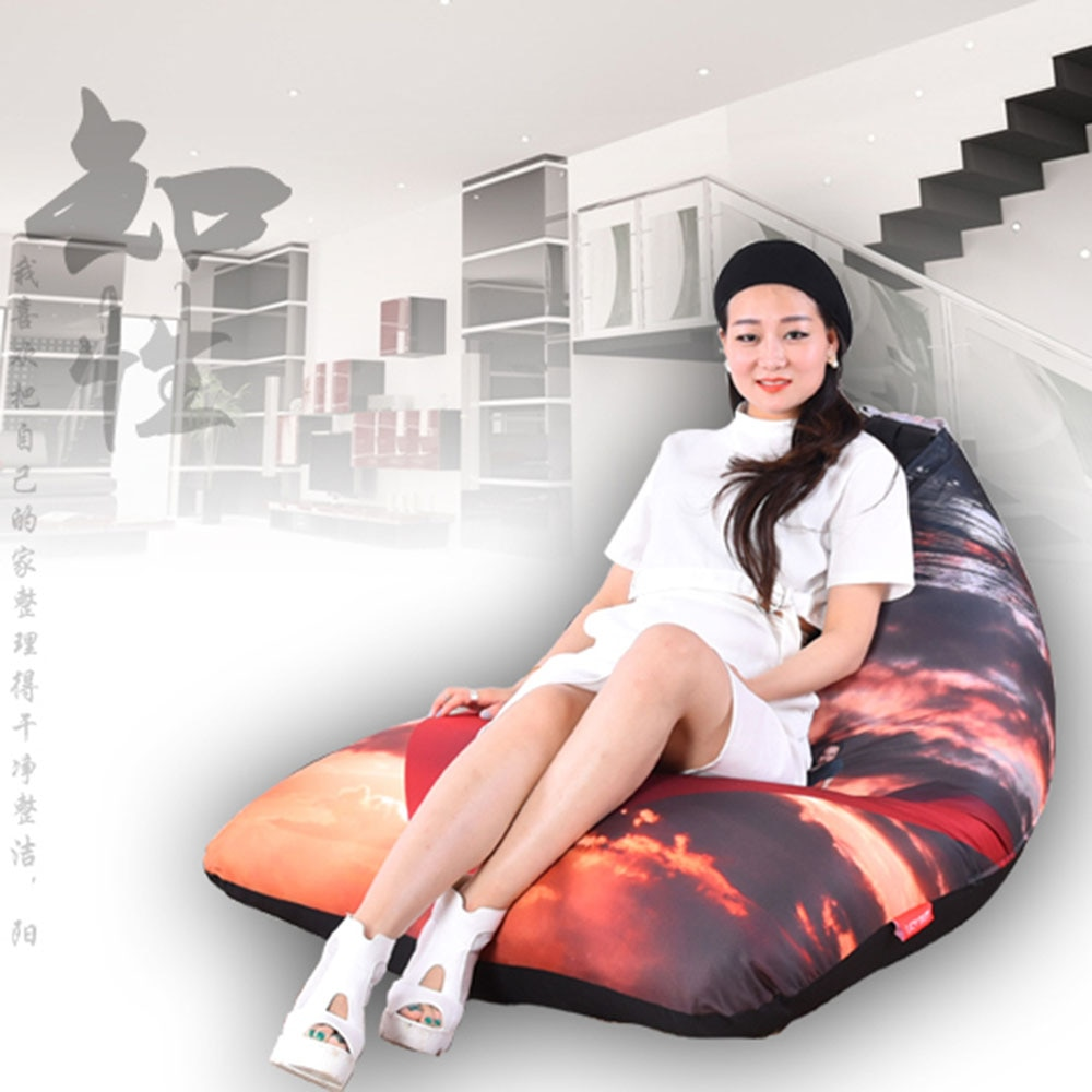 LEVMOON Beanbag Sofa Chair Seat zac Shell Comfort Bean Bag Cover Without Filler Cotton Indoor Beanbag Lounge Chair Printing B
