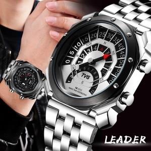 TVG Luxury Brand Wristwatches Fashion Creative Watches Men Sports Watches Stainless Steel Quartz Wristwatches relogio masculino