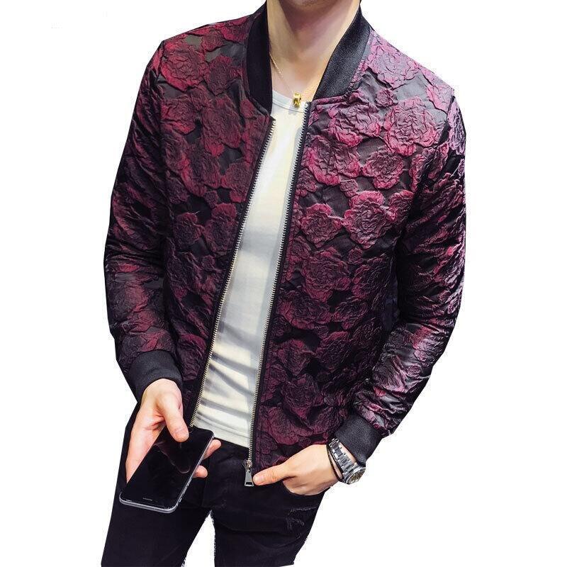 Marca de hombre Casaco 2019 nueva chaqueta Jacquard delgada de moda de lujo hombres piloto chaqueta abrigo talla grande 4XL rojo vino negro chaqueta de los hombres