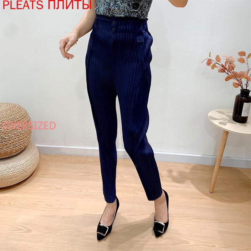 Miyake مطوي السراويل النسائية ضئيلة أقدام صغيرة الفجل السراويل 2021 ربيع جديد عالية الخصر هارون سراويل تقليدية السراويل الطويلة المستقيمة