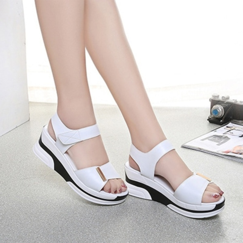 Pu Leather Women Sandals Shoes Platform Ladies White Sneakers Sandals Shoe 2020 Summer Open Toe Fashion High Heel Footwear women sandals wedge platform sandals summer slip on ladies high heels shoes fashion open toe casual female footwear 2020