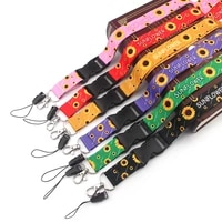 fd0144 sunflower lanyard neck strap rope for mobile cell phone id card badge holder with keychain keyring