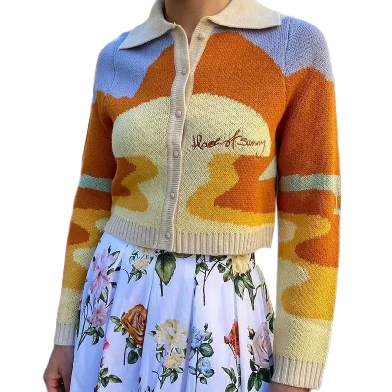 Women Long Sleeve Lapel Knit Crooped Cardigan Graffiti Letters Slim Sweater Coat enlarge