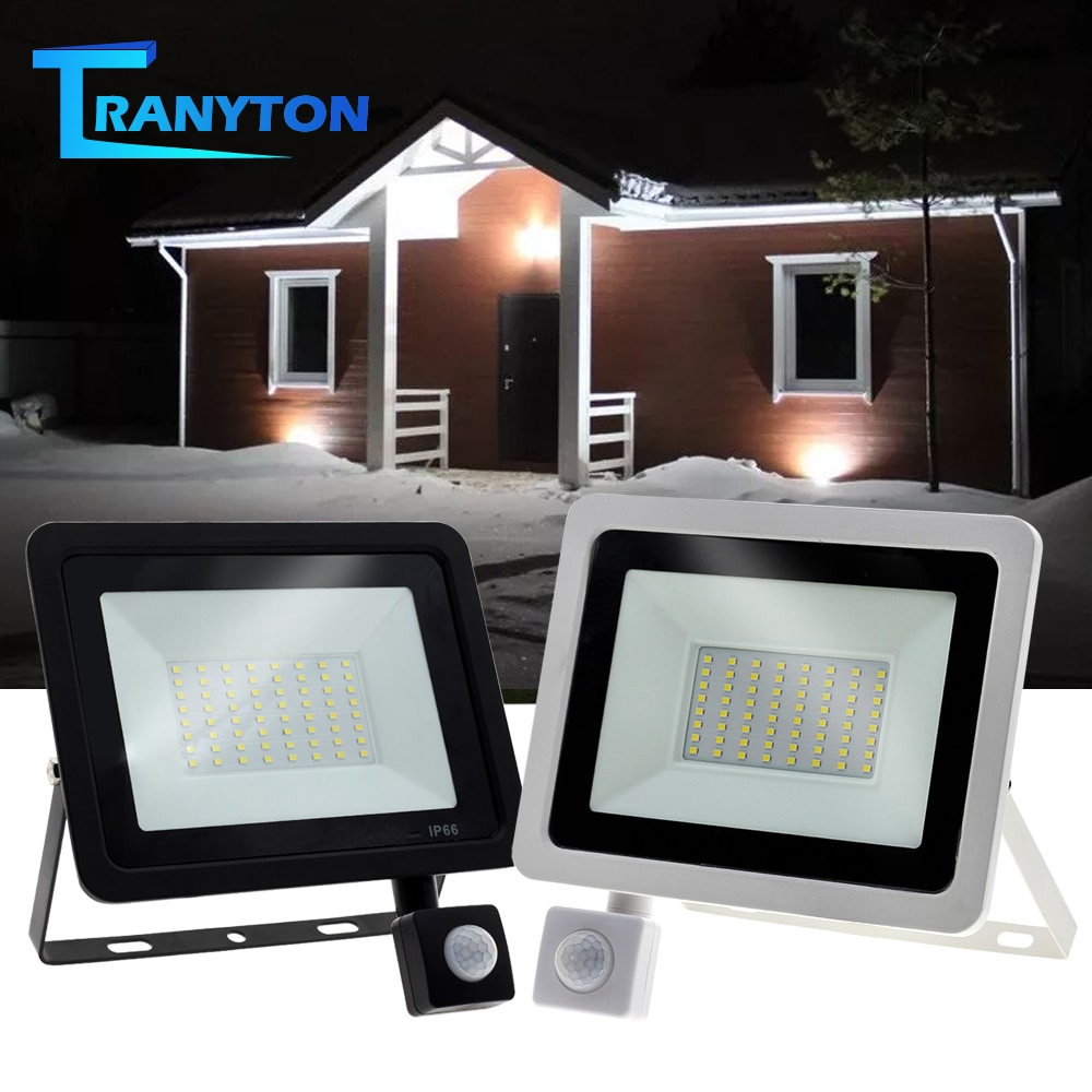 Waterproof LED Street Light 10W-100W Adjustable Floodlight 220V With PIR Motion Sensor Outdoor Spotl