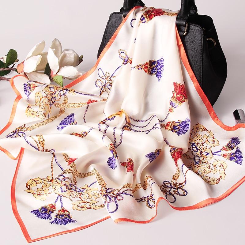 2020 de seda 65*65cm seda Hangzhou envolturas de pañuelo para señoras pañuelo impreso 100% Real pañuelo de seda cuello cuadrado