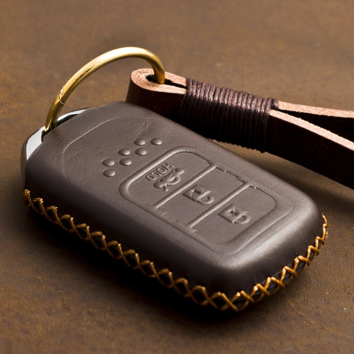 1 PCS Genuine Leather Remote Keyless Key Case Key Cover Holder For Accord Vezel Civic Pilot CRV HRV JAZZ Key Shell Bag For Honda