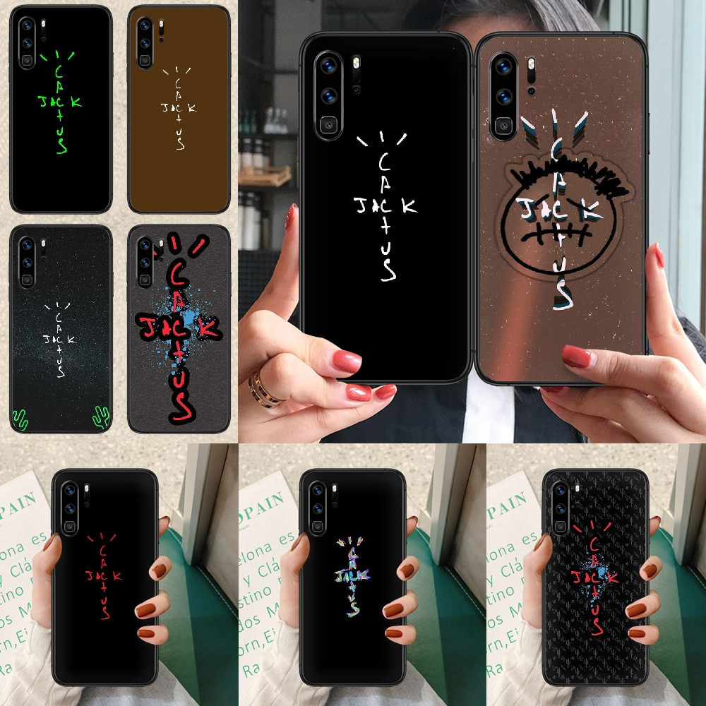 cactus jack letter words Phone case For Huawei P Mate Smart 10 20 30 40 Lite Z 2019 Pro black cover