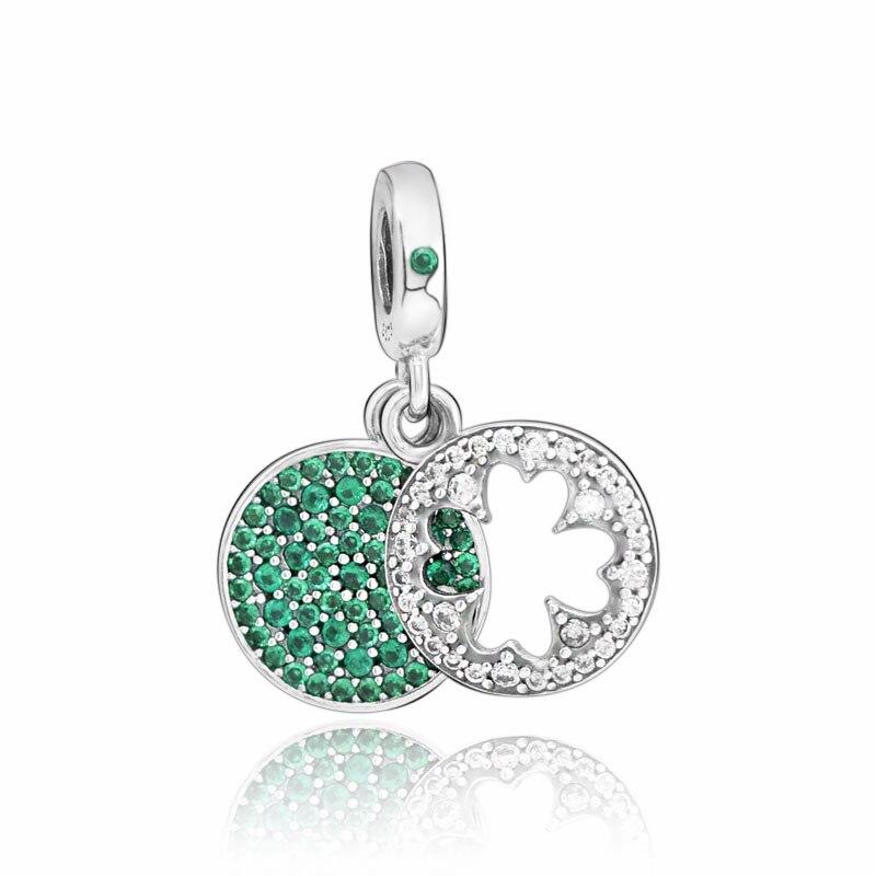 Clássico sorte quatro folhas trevo charme contas caber pandora original pulseiras feminino jóias diy