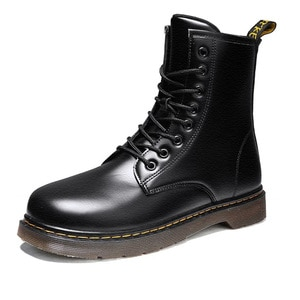 Martin Boots women Shoes Fashion Autumn Black Chelsea Leather Round Toe Lace Up Sewing Plush Non Slip High Top Shoes Male Boots