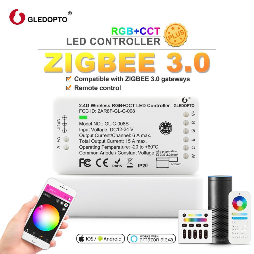 Control remoto zigbee RGBCCT WW/CW Controlador Led DC12/24 V controlador de tira led trabajo de control de voz inteligente con amazon echo plus
