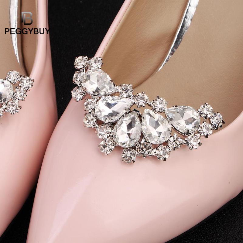 2 uds Zapatos elegantes de perlas de diamantes de imitación Clips flor vestido sombrero boda fiesta decoración de moda Dropshipping