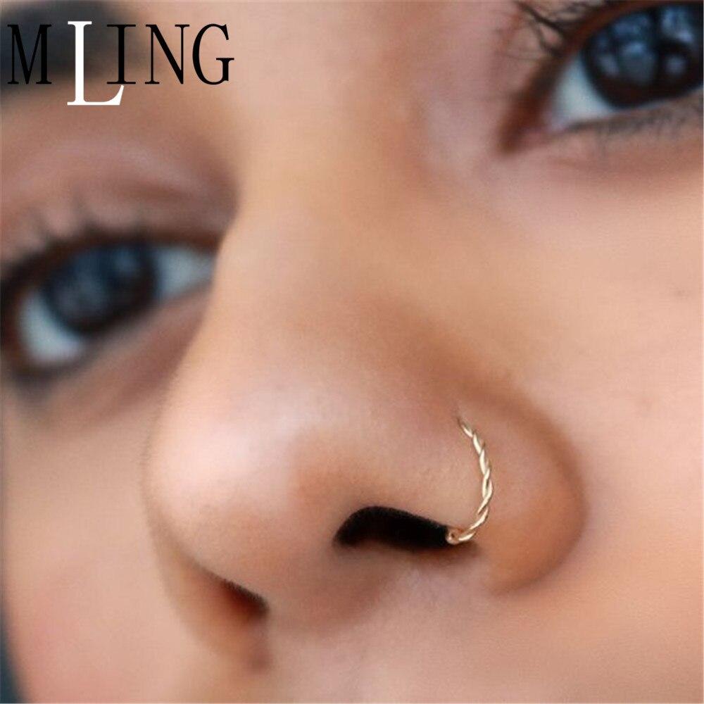 MLING Vintage Gold Ritt Gold Nase Ringe Mode Verdreht Seil Nase Ring für Frauen