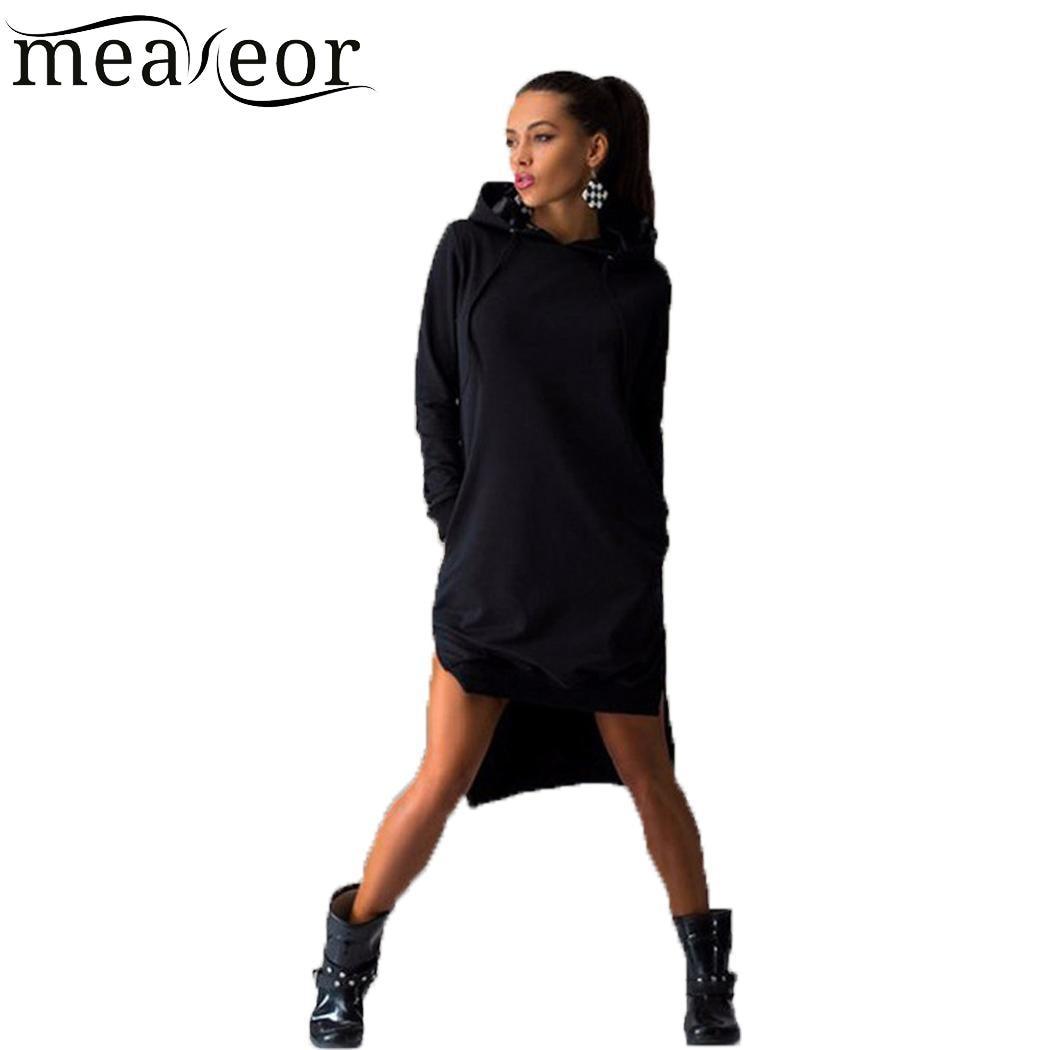 Mulheres Com Capuz Casuais Pescoço Manga Longa Pullover Sólida Bolso Assimetria Hem Side Dividir Camisola Vestido Acima Do Joelho