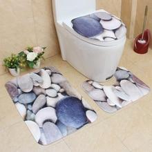 3D banyo banyo Mat seti 3 adet banyo paspas tuvalet halı seti pazen paspas Tapete kaymaz halı tuvalet kapak banyo Mat seti