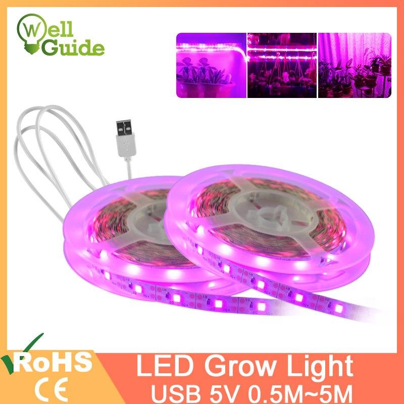 Tira de luces LED para cultivo 1m2m 3m 4m 5m SMD espectro completo USB 5V2835 Chip lámpara LED para cultivo de plantas hidropónicas de invernadero