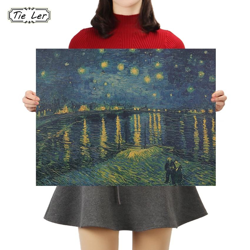 Corbata LER Retro de papel Kraft cartel de noche estrellada de Van Gogh sobre el Ródano decorativo cuadro adhesivo para pared 36X47CM