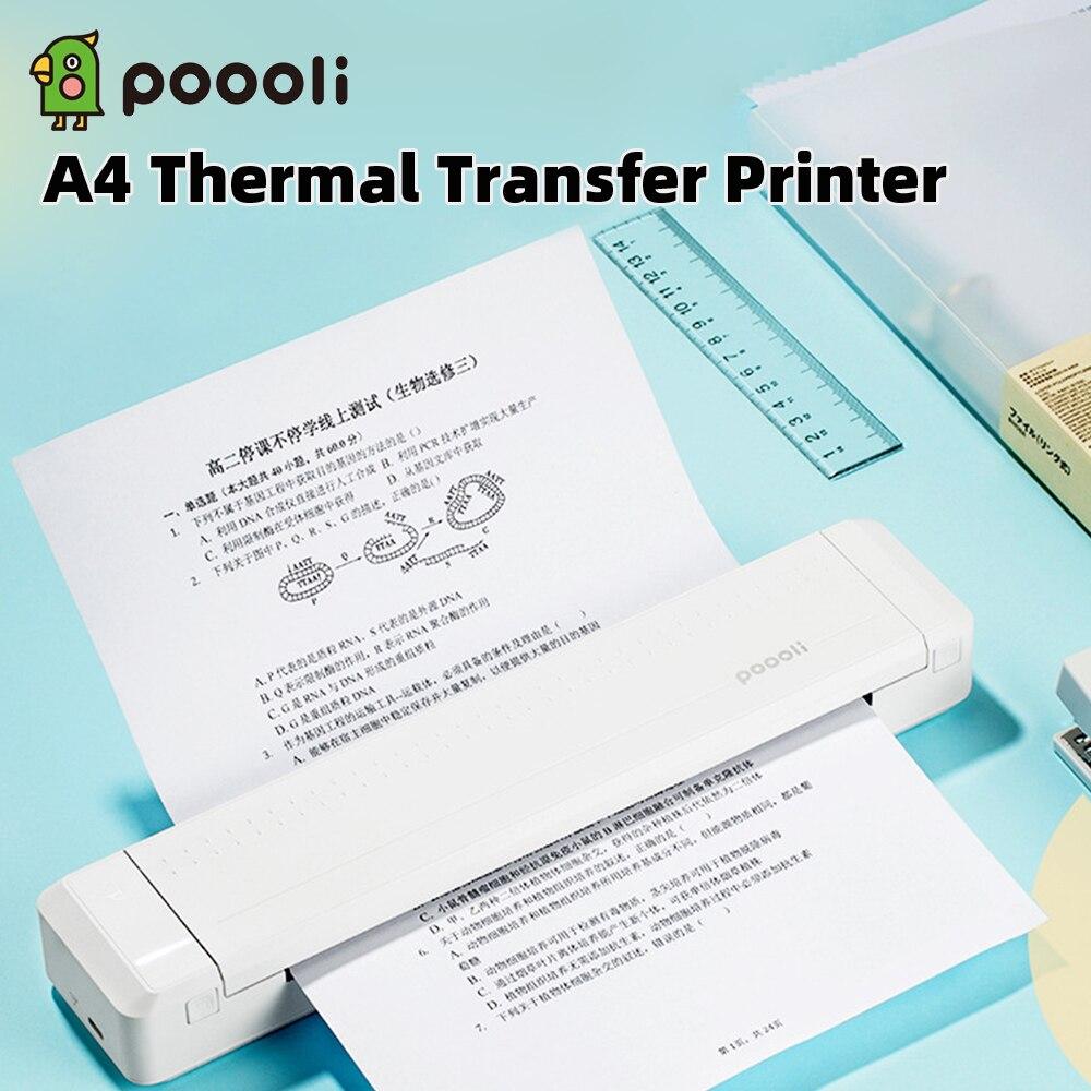 Бумажный принтер Poooli A4, прямой термотрансферный принтер, мобильный принтер, портативный фотопринтер Bluetooth 300 точек/дюйм с лентой 1 шт.