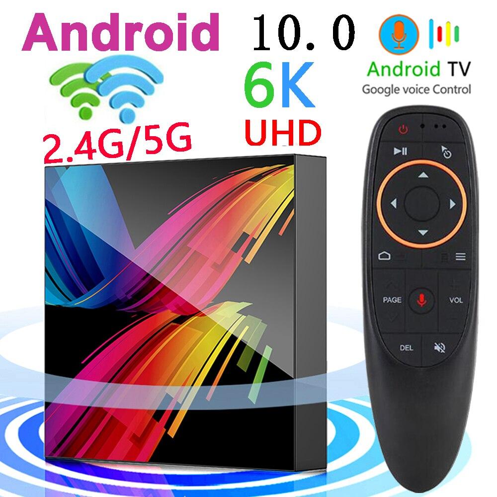 أندرويد 10.0 مربع التلفزيون الذكية دعم BT مساعد الصوت واي فاي 2.4G & 5.8G 4G 64G عالية الأداء تعيين صندوق علوي 6K ثلاثية الأبعاد مشغل الوسائط