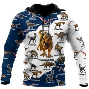 Beautiful Blue Dinosaur T-rex 3D Printed Men Hoodie Unisex Sweatshirt Zip Pullover Casual Streetwear Jacket KJ-010