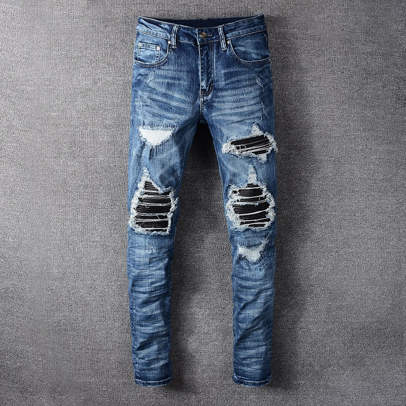 Модные уличные мужские джинсы, эластичные хлопковые брендовые дизайнерские рваные джинсы, Мужские Лоскутные Джинсовые брюки в стиле панк, ...
