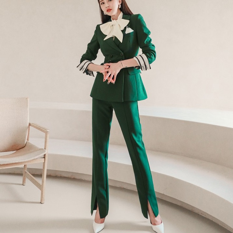 ZAWFL 2021 Notch Collar Double-breasted Women Slim OL Blazer&High Waist Pockets Straight Suit Pants Two Pieces Business Suit notch collar pleated panel blazer