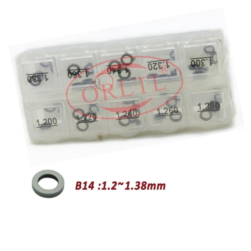 50 pces/b14 tamanho (1.2-1.38), b14 (1.4-1.58) arruela do ajuste do injetor de combustível b14 calços comuns do injetor do trilho para 0445110/0445120