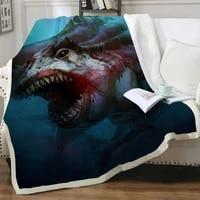 nknk brank shark blanket ocean bedding throw animal thin quilt blood bedspread for bed sherpa blanket fashion premium adult