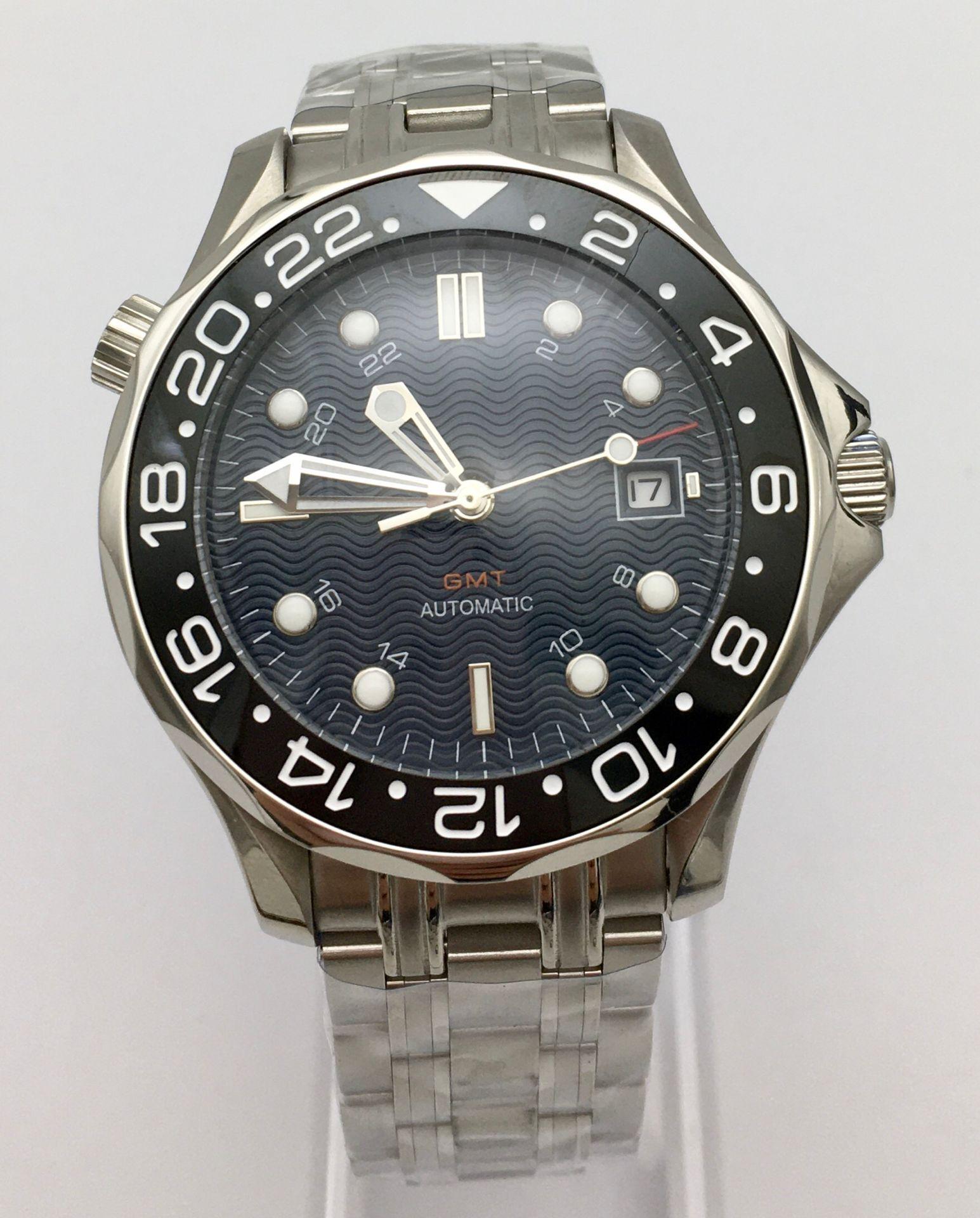 41cm Blue Wave Dial Mechanical Men's Watch Automatic Watch Men's Clock Date Ceramic Bezel Stainless Steel Solid Case