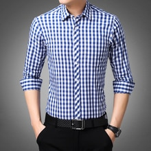Blue White Plaid Mens Classic Casual Shirt High Quality 100% Cotton Male Social Long Sleeve Slim Fit Shirt 4XL